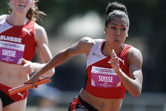 06.06.2015; Genf; Leichtathletik - Atletic a Geneve;  Mujinga Kambundji (STB) in der 4x100m Staffel. (Christian Pfander/freshfocus)