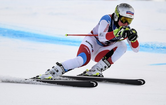 epa07349532 Corinne Suter of Switzerland in action during a training run for the women's Downhill race at the FIS Alpine Skiing World Championships in Are, Sweden, 07 February 2019.  EPA/CHRISTIAN BRUNA