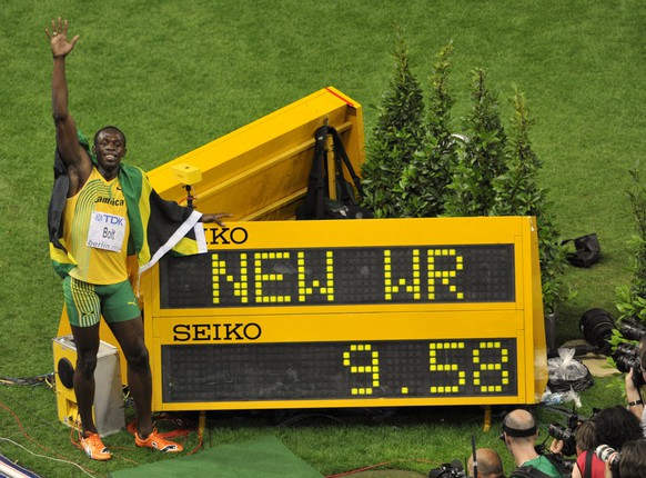 <strong>Männer– 100 Meter:</strong> Usain Bolt (JAM), 9,58 Sekunden, 2009 in Berlin.