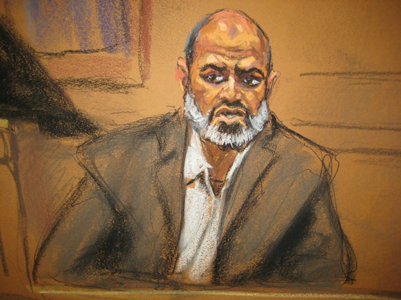 Osama bin Laden's son-in-law, Suleiman Abu Ghaith, one of the highest profile people with purported links to al Qaeda to be tried in a U.S. civilian court, is seen in a courtroom drawing in federal court in New York March 19, 2014. Suleiman Abu Ghaith, unexpectedly testified on Wednesday at his trial on terrorism-related charges and denied that he had any role in al Qaeda plots against the United States. REUTERS/Jane Rosenberg (UNITED STATES - Tags: CRIME LAW POLITICS) NO SALES. NO ARCHIVES. FOR EDITORIAL USE ONLY. NOT FOR SALE FOR MARKETING OR ADVERTISING CAMPAIGNS. THIS IMAGE HAS BEEN SUPPLIED BY A THIRD PARTY. IT IS DISTRIBUTED, EXACTLY AS RECEIVED BY REUTERS, AS A SERVICE TO CLIENTS