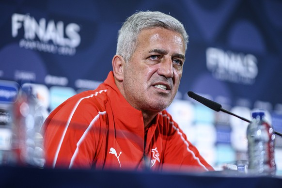 Switzerland coach Vladimir Petkovic answers journalists during a news conference at the Dragao stadium in Porto, Portugal, Tuesday, June 4, 2019. Switzerland will face Portugal Wednesday in a UEFA Nations League semifinal soccer match. (Lukas Schulze/UEFA via AP)