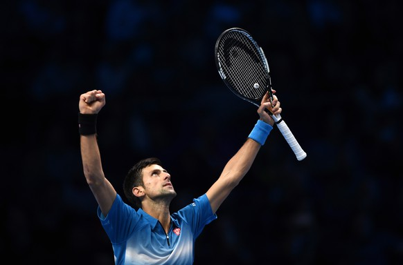 Tennis - Barclays ATP World Tour Finals - O2 Arena, London - 21/11/15 Men's Singles - Serbia's Novak Djokovic celebrates victory after his match against Spain's Rafael Nadal Action Images via Reuters / Tony O'Brien Livepic EDITORIAL USE ONLY.