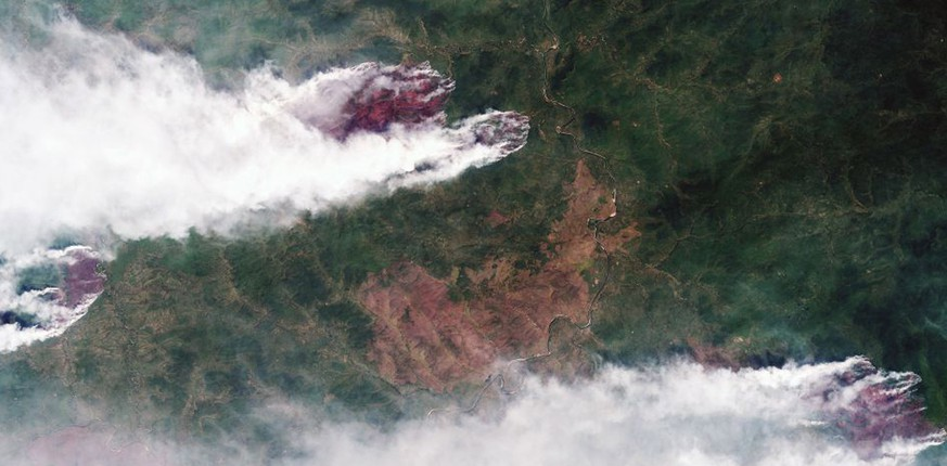 epa07753516 A handout photo made available by Russian State Corporation Roscosmos shows a satellite image of wildfires burning in Yakutia, Eastern Siberia, Russia, 02 August 2019. Wildfires in Russian Siberia have spread over 2,5 million hectares, authorities say. The Russian government declared an emergency and mobilized the military to join firefighting efforts to contain the fires as they extensively burned Siberian forests.  EPA/ROSCOSMOS HANDOUT BEST QUALITY AVAILABLE -- MANDATORY CREDIT: ROSCOSMOS -- HANDOUT EDITORIAL USE ONLY/NO SALES