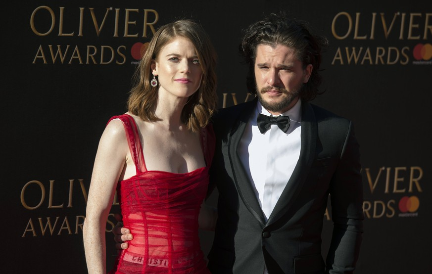epa05900785 Scottish actress Rosie Leslie (L) and British actor Kit Harington arrive at the annual Olivier Awards at The Royal Albert Hall in London, Britain, 09 April 2017 (issued 10 April 2017). The annual theatre awards are named after British actor Laurence Olivier.  EPA/WILL OLIVER
