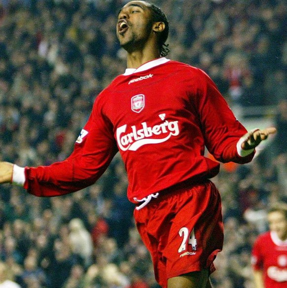 Liverpool's Florent Sinama-Pongolle celebrates scoring the second goal against Bolton Wanderers during the FA Barclaycard Premiership match held at Anfield, Liverpool, Friday December 26, 2003. Liverpool won 3-1.  EPA/Howard Walker UK AND IRELAND OUT