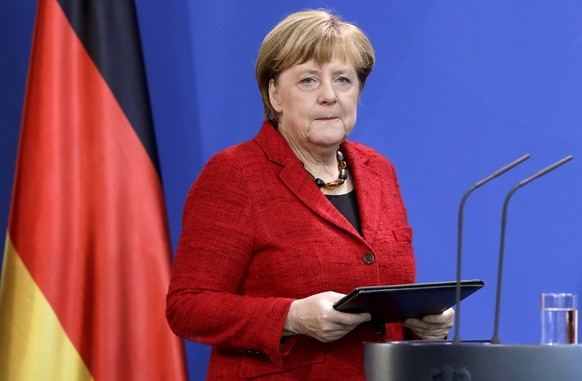 German Chancellor Angela Merkel arrives for a statement on the 2016 US Election in Berlin, Germany, Wednesday, Nov. 9, 2016. (AP Photo/Michael Sohn)