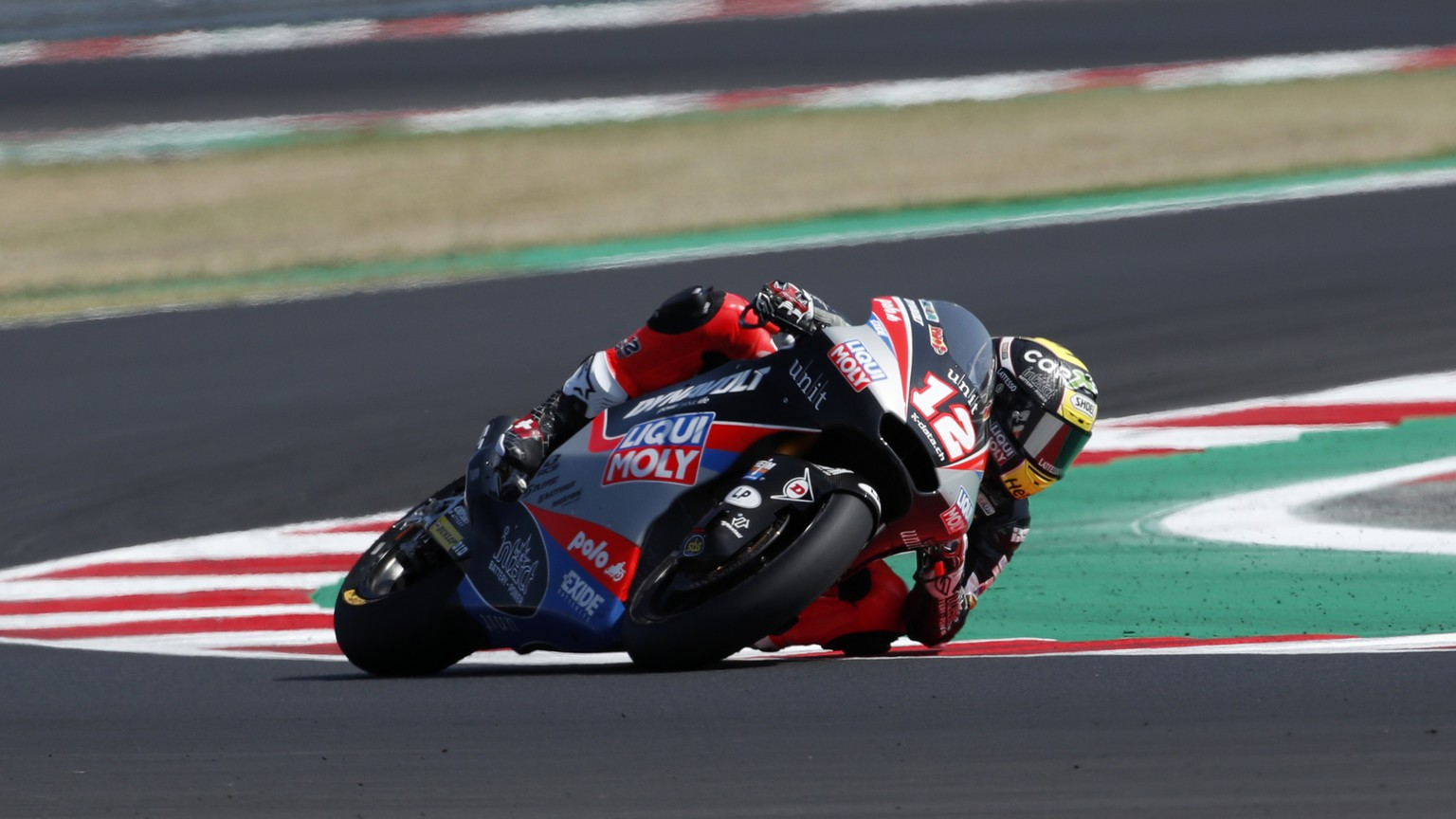 Moto2 rider Thomas Luthi of Switzerland takes a curve during the San Marino Motorcycle Grand Prix at the Misano circuit in Misano Adriatico, Italy, Sunday, Sept. 13, 2020. (AP Photo/Antonio Calanni)