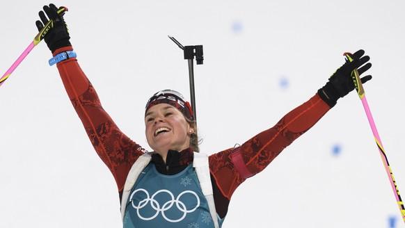 Irene Cadurisch of Switzerland reacts after the women Biathlon 7.5 km Sprint in the Alpensia Biathlon Center during the XXIII Winter Olympics 2018 in Pyeongchang, South Korea, on Saturday, February 10, 2018. (KEYSTONE/Gian Ehrenzeller)