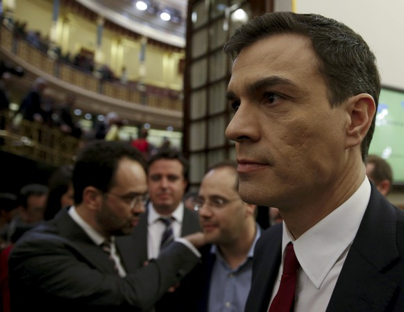 Spain's Socialist Party (PSOE) leader Pedro Sanchez walks out at the end of an investiture debate at parliament in Madrid, Spain, March 4, 2016. REUTERS/Juan Medina