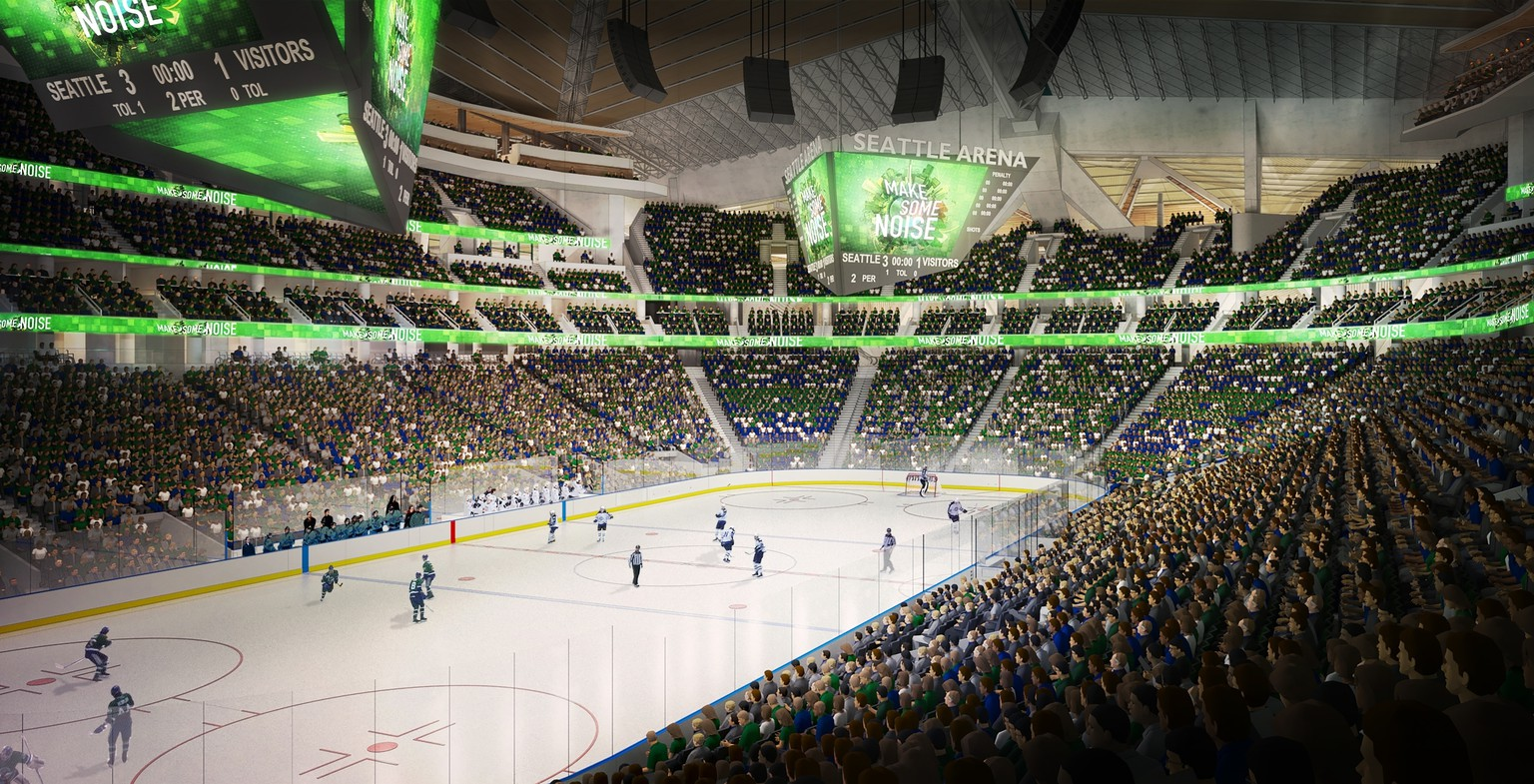 FILE - In this computer drawing provided by the Oak View Group, a proposed remodeled KeyArena in Seattle with an NHL hockey rink is shown.  Seattle Mayor Ed Murray announced Wednesday, June 7, 2017, that the city will enter into negotiations with the Oak View Group on a proposal for a privately-financed renovation of the city-owned KeyArena. Plans for the remodel would bring the building up to standards that could attract an NHL hockey or NBA basketball team once completed. (Oak View Group/via AP)