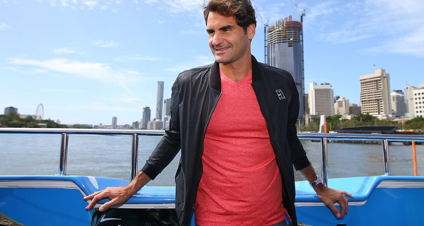 BRISBANE, AUSTRALIA - JANUARY 02:  Roger Federer poses for photographs on the CityCat ahead of the 2016 Brisbane International on January 2, 2016 in Brisbane, Australia.  (Photo by Chris Hyde/Getty Images)