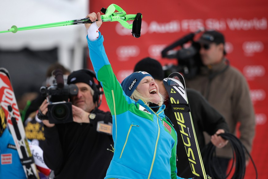 ASPEN, CO - NOVEMBER 30:  Nicole Hosp of Austria reacts after winning the ladies' slalom during the 2014 Audi FIS Ski World Cup at the Nature Valley Aspen Winternational at Aspen Mountain at Aspen Mountain on November 30, 2014 in Aspen, Colorado.  (Photo by Ezra Shaw/Getty Images)