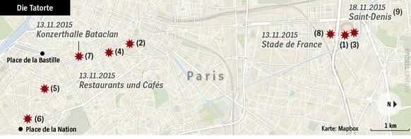 <strong>(1) </strong>Ein Attentäter versucht am Portal D ins Stadion zu gelangen, wo das Spiel Frankreich – Deutschland stattfindet. Er scheitert, sprengt sich vor dem Stadion selbst in die Luft und tötet einen weiteren Menschen. <strong>(2)</strong> Um 21.25 Uhr schiessen Attentäter in der Rue Alib