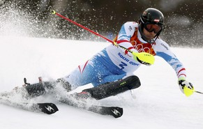 Austria's Mario Matt skis during the first run of the men's alpine skiing slalom event at the 2014 Sochi Winter Olympics at the Rosa Khutor Alpine Center February 22, 2014. REUTERS/Stefano Rellandini (RUSSIA  - Tags: SPORT SKIING OLYMPICS)