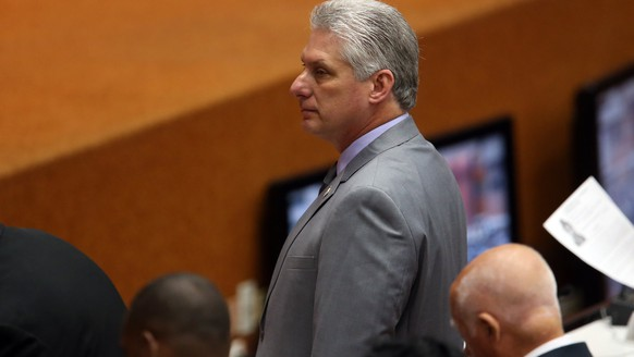 epa06677580 Cuban first Vice President Miguel Díaz-Canel attends to the constitutive session of the IX Legislature of the National Assembly of People's Power (parliament), in Havana, Cuba, 18 April 2018. The parliament holds a two-day session to elect the next president of Cuba, considered the end of the Castro era.  EPA/Ernesto Mastrascusa