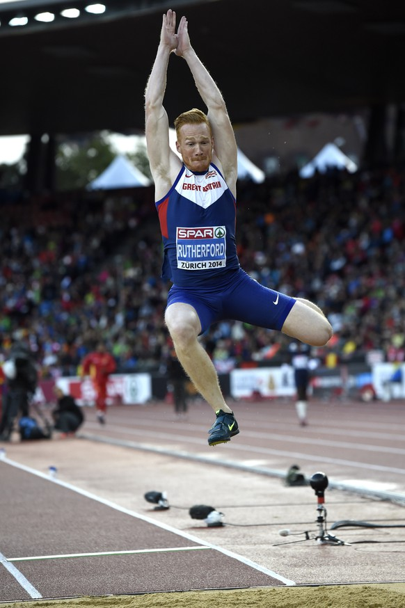 ADDS DISCIPLINE - Greg Rutherford from Great Britain competes in the men's long jump qualifying event, at the fourth day of the European Athletics Championships in the Letzigrund Stadium in Zurich, Switzerland, Friday, August 15, 2014. (KEYSTONE/Jean-Christophe Bott)