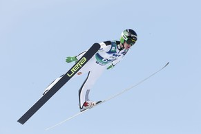 Third-placed Peter Prevc of Slovenia competes in the men's Large Hill Individual event at the Ski Jumping World Cup at the Holmenkollen Ski Arena in Oslo March 15, 2015.  REUTERS/Terje Bendiksby/NTB Scanpix (NORWAY - Tags: SPORT SKIING) ATTENTION EDITORS - THIS IMAGE WAS PROVIDED BY A THIRD PARTY. THIS PICTURE IS DISTRIBUTED EXACTLY AS RECEIVED BY REUTERS, AS A SERVICE TO CLIENTS. FOR EDITORIAL USE ONLY. NOT FOR SALE FOR MARKETING OR ADVERTISING CAMPAIGNS. NORWAY OUT. NO COMMERCIAL OR EDITORIAL SALES IN NORWAY. NO COMMERCIAL SALES