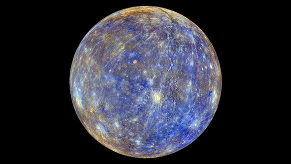An image of the planet Mercury produced by NASA'S MErcury Surface, Space ENvironment, GEochemistry, and Ranging, or MESSENGER probe is seen in an undated picture released April 16, 2015. These colors are not what Mercury would look like to the human eye, but rather the colors enhance the chemical, mineralogical, and physical differences between the rocks that make up Mercury's surface, according to NASA.  The MESSENGER spacecraft that made surprising discoveries of ice and other materials on Mercury will make a crash landing into the planet around April 30, scientists said on Thursday.   REUTERS/NASA/Johns Hopkins University Applied Physics Laboratory/Carnegie Institution of Washington/Handout   THIS IMAGE HAS BEEN SUPPLIED BY A THIRD PARTY. IT IS DISTRIBUTED, EXACTLY AS RECEIVED BY REUTERS, AS A SERVICE TO CLIENTS. FOR EDITORIAL USE ONLY. NOT FOR SALE FOR MARKETING OR ADVERTISING CAMPAIGNS