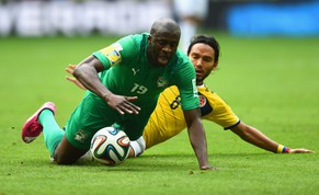 BRASILIA, BRAZIL - JUNE 19:  Yaya Toure of the Ivory Coast and Abel Aguilar of Colombia compete for the ball during the 2014 FIFA World Cup Brazil Group C match between Colombia and Cote D'Ivoire at Estadio Nacional on June 19, 2014 in Brasilia, Brazil.  (Photo by Christopher Lee/Getty Images)