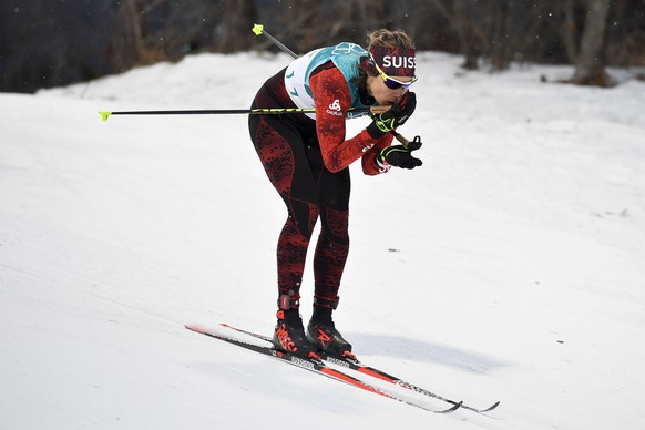 Laurien van der Graaff of Switzerland in action during the women Cross Country Skiing Individual Sprint Classic race qualification during the XXIII Winter Olympics 2018 at the Alpensia Biathlon Center in Pyeongchang, South Korea, on Tuesday, February 13, 2018. (KEYSTONE/Gian Ehrenzeller)