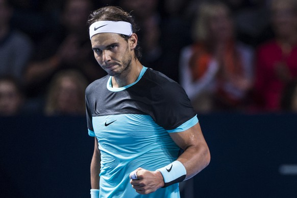 Spain's Rafael Nadal cheers during their semifinal match against France's Richard Gasquet at the Swiss Indoors tennis tournament at the St. Jakobshalle in Basel, Switzerland, on Saturday, October 31, 2015. (KEYSTONE/Dominic Steinmann)