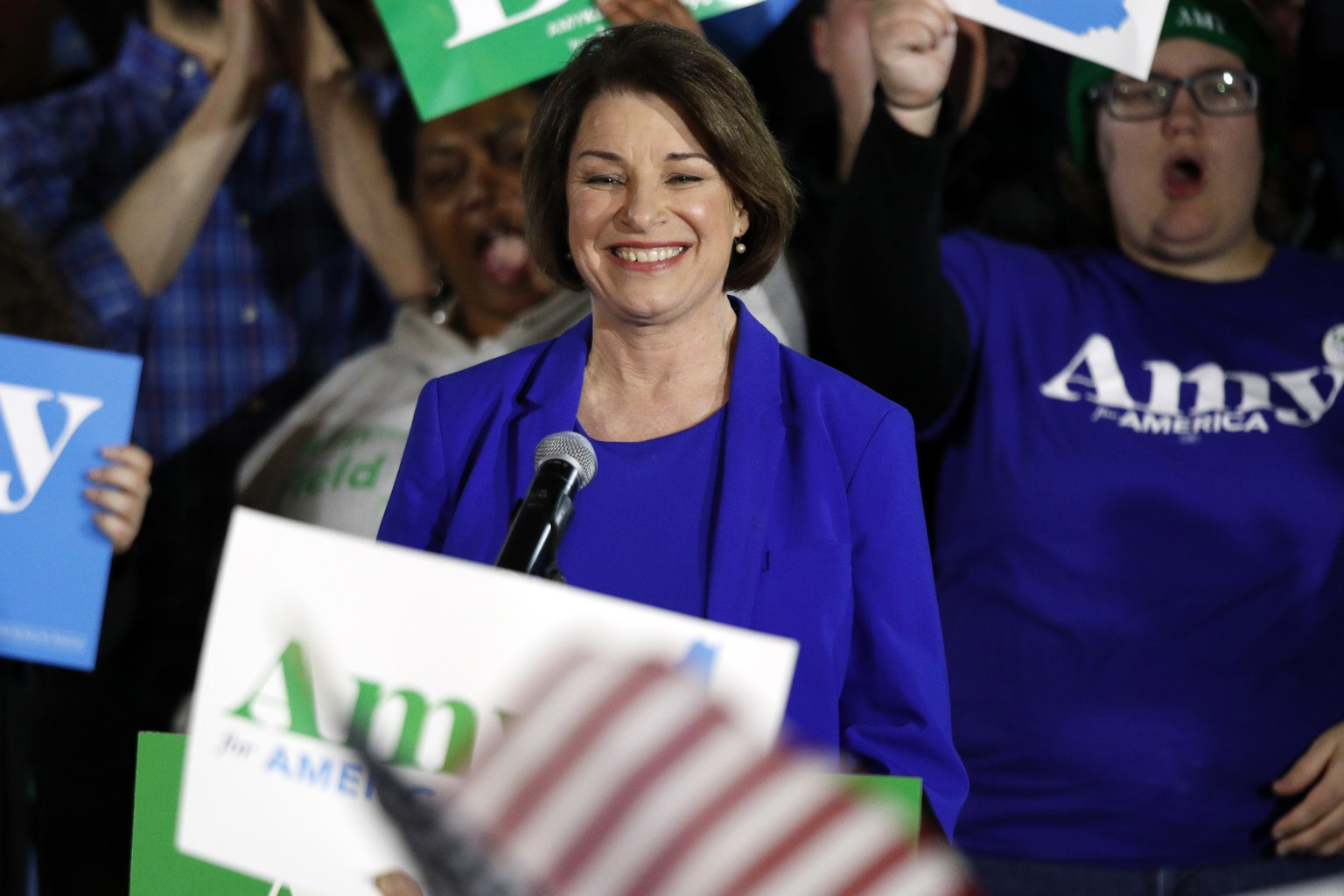 Democratic presidential candidate Sen. Amy Klobuchar, D-Minn., speaks at her election night party, Tuesday, Feb. 11, 2020, in Concord, N.H. (AP Photo/Robert F. Bukaty) Amy Klobuchar