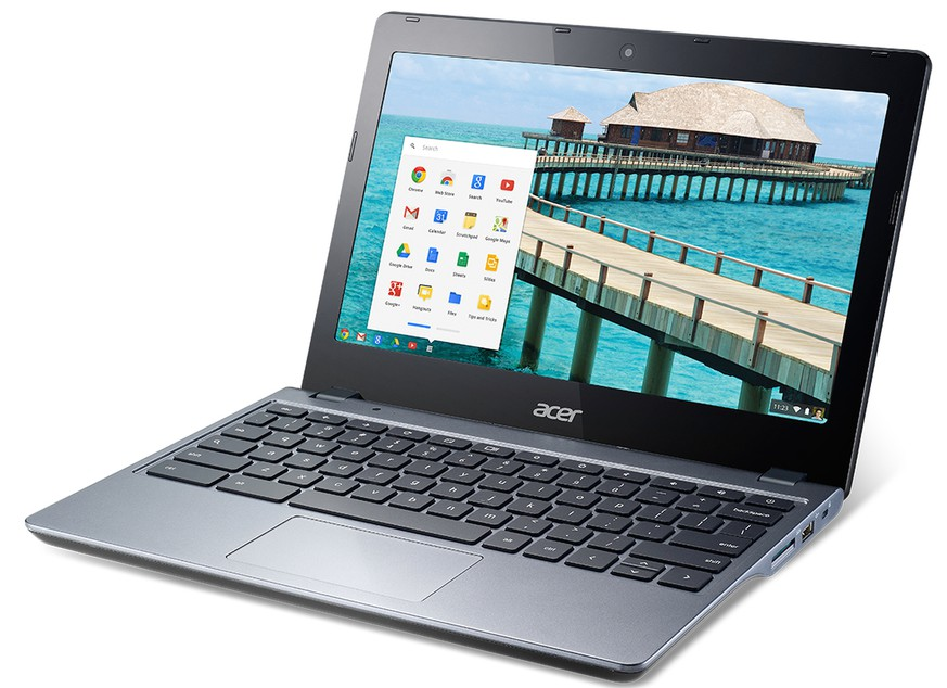 "This undated image provided by Acer shows an Acer non-touch C720 Chromebook. Travel guru Arthur Frommer recommends the Chromebook as ultra-cheap and ultra-light, and because this model can be found for under $200, Frommer says it ""doesn't present the anxiety of loss or theft that a thousand-dollar MacBook Air would."" (AP Photo/Acer)"