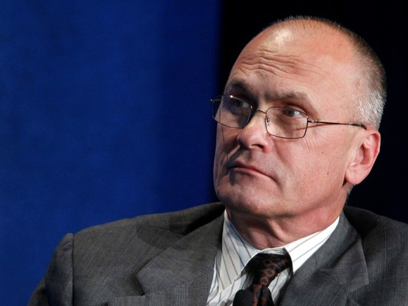 FILE PHOTO - Andrew Puzder, CEO of CKE Restaurants, takes part in a panel discussion titled