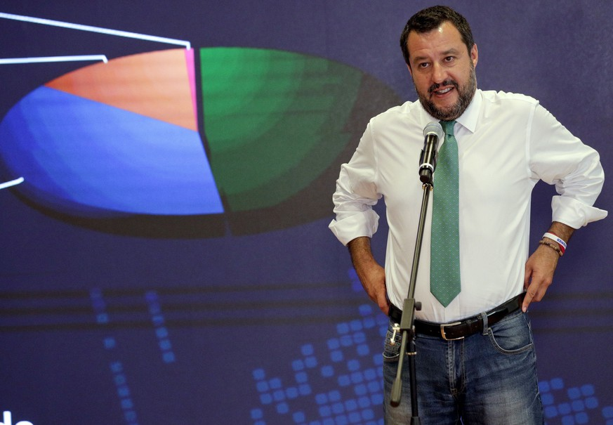 Italian Interior-Minister and Deputy-Premier Matteo Salvini meets reporters at the Interior Ministry headquarters in Rome, Monday, May 27, 2019. Hardline Interior Minister Matteo Salvini's League party - who is casting himself as the standard bearer for populist far right in Europe - won the Italian vote and jumps from 6 to 28 seats in the European Parliament. (AP Photo/Andrew Medichini)