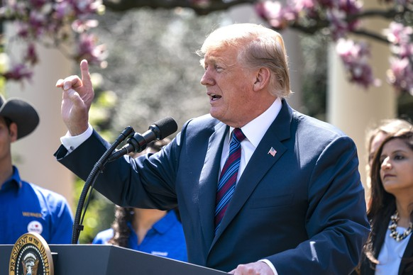 epa06664910 US President Donald J. Trump speaks about his tax cuts in the Rose Garden of the White House in Washington DC, USA, 12 April 2018. Earlier in the day, President Trump once again taunted Russia in a tweet, saying an attack on Syrian 'could be very soon or not so soon at all' in response to Syria's reported chemical weapons attack against a rebel-held town in Eastern Ghouta.  EPA/JIM LO SCALZO