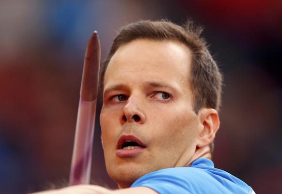 Tero Pitkamaki of Finland competes in the men's javelin throw qualifying rounds during the European Athletics Championships at the Letzigrund Stadium in Zurich August 14, 2014. REUTERS/Phil Noble (SWITZERLAND  - Tags: SPORT ATHLETICS)