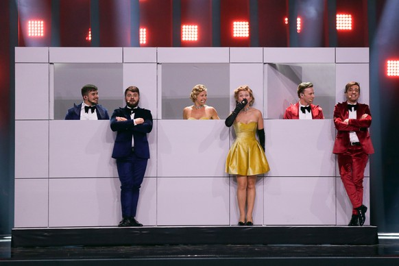 epa06728483 DoReDoS representing Moldova with 'My Lucky Day' performs during rehearsals for the Grand Final of the 63rd annual Eurovision Song Contest (ESC) at the Altice Arena in Lisbon, Portugal, 11 May 2018. The Grand Final of the ESC 2018 is held on 12 May.  EPA/JOSE SENA GOULAO