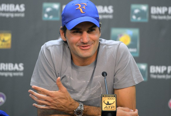 Roger Federer, of Switzerland, speaks during a news conference at the BNP Paribas Open tennis tournament on Thursday, March 7, 2013, in Indian Wells, Calif. (AP Photo/Mark J. Terrill)