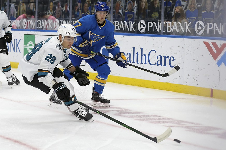 San Jose Sharks' Timo Meier (28), of Switzerland, handles the puck in front of St. Louis Blues' Torey Krug (47) during the first period of an NHL hockey game Saturday Feb. 20, 2021, in St. Louis. (AP Photo/Scott Kane)