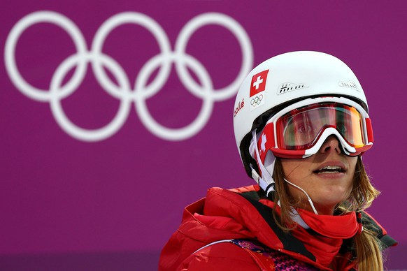 SOCHI, RUSSIA - FEBRUARY 20:  Mirjam Jaeger of Switzerland looks on in the Freestyle Skiing Ladies' Ski Halfpipe Qualification on day thirteen of the 2014 Winter Olympics at Rosa Khutor Extreme Park on February 20, 2014 in Sochi, Russia.  (Photo by Cameron Spencer/Getty Images)