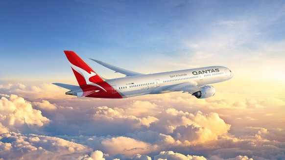 epa05605343 An undated handout picture made available by Qantas on 27 October 2016 shows an artist rendering of the new Qantas 787-9 Dreamliner aircraft. Qantas unveiled a subtle change in its logo, which includes its iconic flying kangaroo without arms. Qantas is expected to receive its Boeing 787-9 in October 2017, replacing its 747–400 aircraft, media reported.  EPA/QANTAS AUSTRALIA AND NEW ZEALAND OUT HANDOUT EDITORIAL USE ONLY/NO SALES