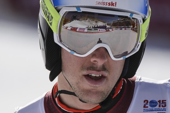 Carlo Janka of Switzerland reacts in the finish area during the men's downhill training race at the 2015 Alpine World Skiing Championships in Vail / Beaver Creek, Colorado, USA, pictured on Friday February 6, 2015. (KEYSTONE/Jean-Christophe Bott)