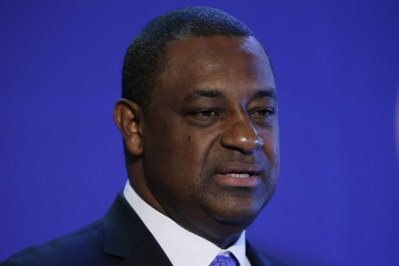 FILE - In this March 12, 2015 file photo, CONCACAF President Jeffrey Webb speaks during a Confederation of North, Central America and Caribbean Association Football news conference in Philadelphia. Six soccer officials were arrested and detained by Swiss police on Wednesday, May 27, 2015, pending extradition at the request of U.S. authorities after a raid at Baur au Lac Hotel in Zurich.  CONCACAF leader and FIFA vice president Webb of the Cayman Islands, was staying at the luxury hotel this week. It was unclear if he was detained. (AP Photo/Matt Rourke, File)