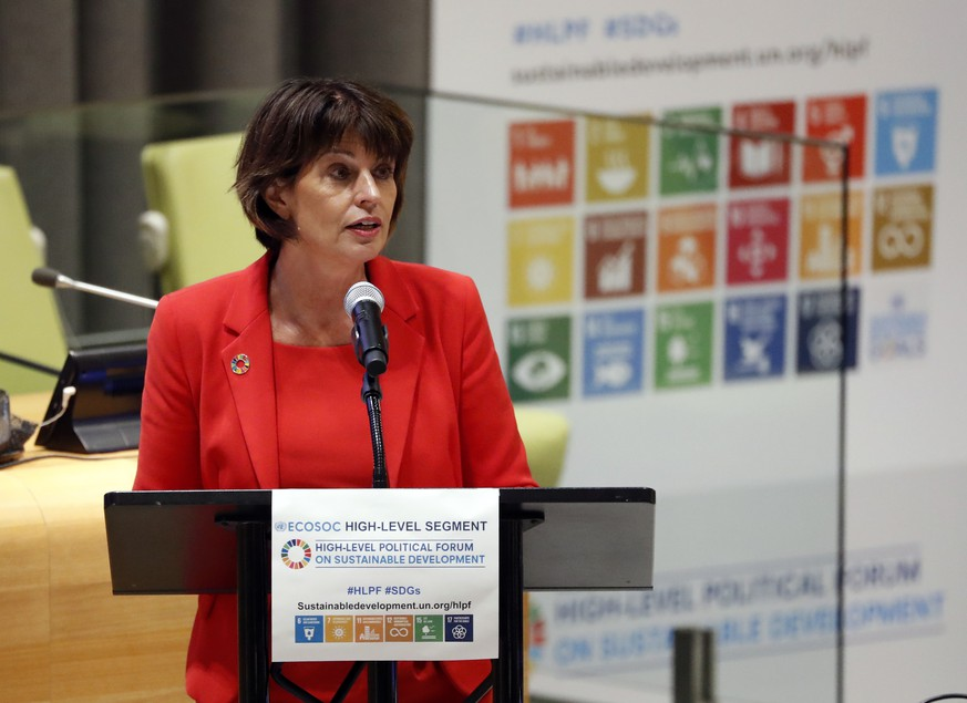 epa06895219 Switzerland's Federal Councillor Doris Leuthard, addresses a ministerial meeting of the 2018 High-level Political Forum on Sustainable Development at United Nations headquarters in New York, USA, 17 July 2018.  EPA/JASON SZENES