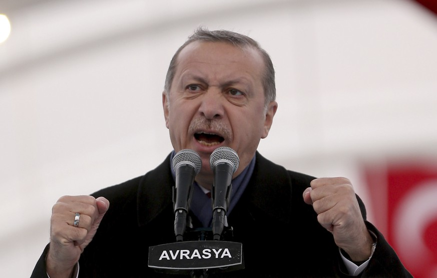 Turkey's President Recep Tayyip Erdogan gestures as he speaks during the opening ceremony of Eurasia Tunnel in Istanbul, Tuesday, Dec, 20, 2016. Erdogan said he and Russian President Vladimir Putin, with whom he spoke by phone Monday night, were