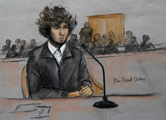 FILE - In this Thursday, Dec. 18, 2014 courtroom sketch, Boston Marathon bombing suspect Dzhokhar Tsarnaev sits in federal court in Boston for a final hearing before his trial begins in January. On Friday, May 15, 2015, Dzhokhar Tsarnaev was sentenced to death by lethal injection for the 2013 Boston Marathon terror attack. (Jane Flavell Collins via AP)