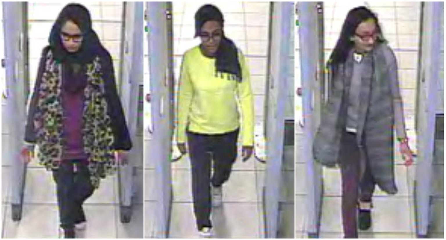 British teenage girls Shamima Begun, Amira Abase and Kadiza Sultana (L-R) walk through security at Gatwick airport before they boarded a flight to Turkey on February 17, 2015, in this combination picture made from handout still images taken from CCTV and released by the Metropolitan Police on February 22, 2015. British police launched an appeal on Friday to trace the three London schoolgirls who are believed to be making their way to Syria, having flown to Turkey earlier this week. The three friends, two aged 15 and one 16, left their east London homes on Tuesday and travelled to Gatwick airport where they caught a Turkish Airlines flight to Istanbul without telling their families. Police said they were working with Turkish authorities to try to find the girls and bring them home. CCTV footage shot on February 17.    REUTERS/Metropolitan Police/Handout via Reuters (BRITAIN - Tags: CRIME LAW POLITICS TPX IMAGES OF THE DAY) ATTENTION EDITORS - THIS PICTURE WAS PROVIDED BY A THIRD PARTY. REUTERS IS UNABLE TO INDEPENDENTLY VERIFY THE AUTHENTICITY, CONTENT, LOCATION OR DATE OF THIS IMAGE. NO SALES. NO ARCHIVES. FOR EDITORIAL USE ONLY. NOT FOR SALE FOR MARKETING OR ADVERTISING CAMPAIGNS. QUALITY FROM SOURCE. THIS PICTURE WAS PROCESSED BY REUTERS TO ENHANCE QUALITY. AN UNPROCESSED VERSION WILL BE PROVIDED SEPARATELY