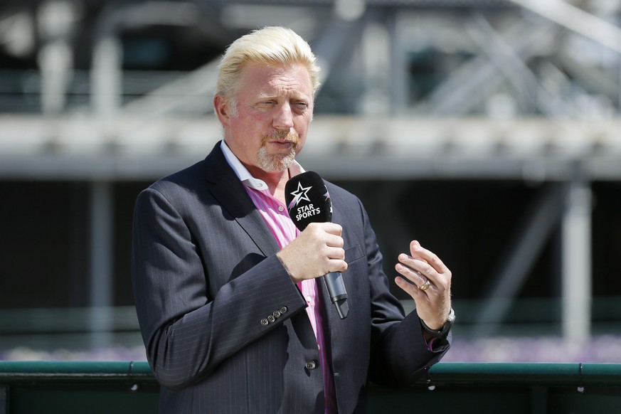 German former tennis champion Boris Becker speaks on the tv channel Star Sports, at the Wimbledon Championships at the All England Lawn Tennis Club, in London, Britain, 10 July 2017. (KEYSTONE/Peter Klaunzer)