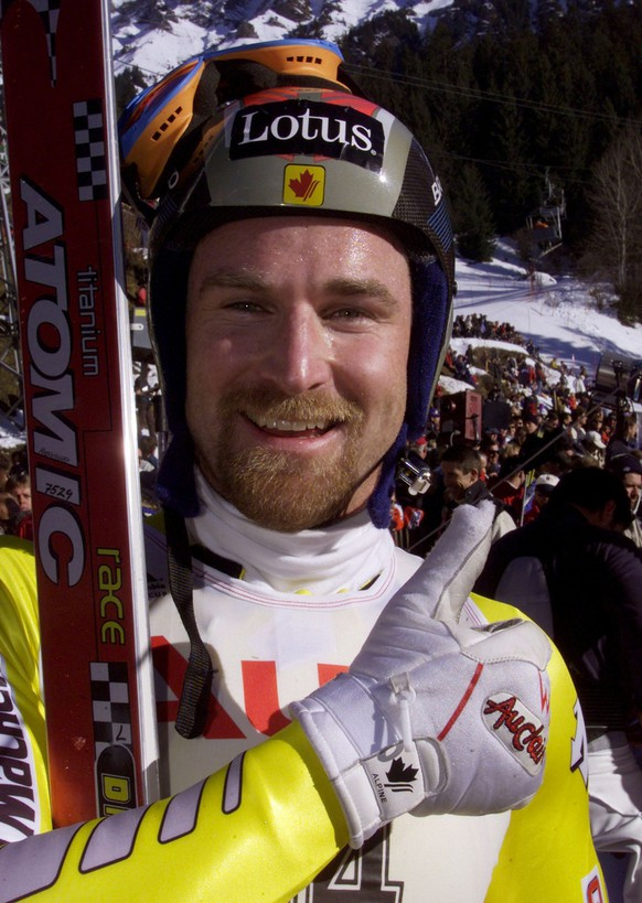 Canadian ski racer Ed Podivinsky enjoys the third place, he reached in the men's ski world cup downhill race at the Lauberhorn, Saturday, January 15, 2000 in Wengen Switzerland. Podivinsky clocked 2:30.56. (AP Photo/Alessandro della Valle)