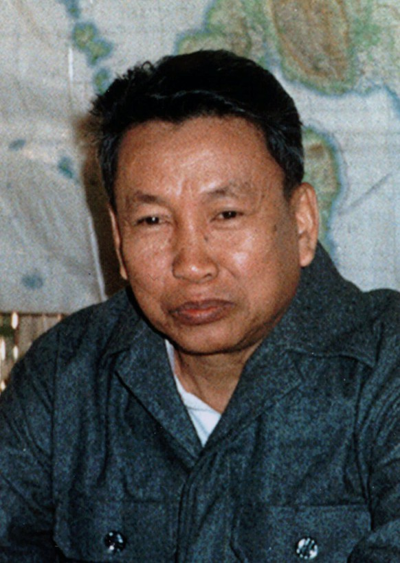 Pol Pot, seen in this Dec. 11, 1979 photo, the notorious former leader of the Khmer Rouge, has died, Thai military sources said Thursday, April 6, 1998. (KEYSTONE/AP Photo/Kyodo/Str)