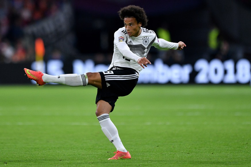 epa07091679 Germany's Leroy Sane in action during the UEFA Nations League, league A, group 1, soccer match between the Netherlands and Germany at Wildredo Pencoin Amsterdam, Netherlands, 13 October 2018.  EPA/SASCHA STEINBACH DFB regulations prohibit any use of photographs as image sequences and/or quasi-video.