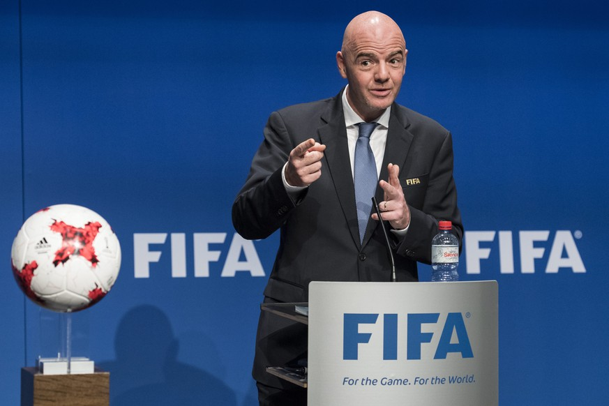 epa05709433 FIFA President Gianni Infantino speaks during a press conference after the FIFA Council meeting at the Home of FIFA in Zurich, Switzerland, 10 January 2017. The 2026 World Cup will feature 48 teams after the FIFA Council unanimously voted to expand the competition.  EPA/ENNIO LEANZA