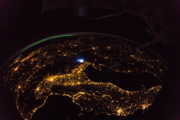 europa from iss europe italy by night