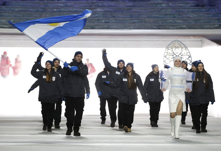 Cristian Simari Birkner of Argentina carries the national flag as he leads the team during the opening ceremony of the 2014 Winter Olympics in Sochi, Russia, Friday, Feb. 7, 2014. (AP Photo/Mark Humphrey)