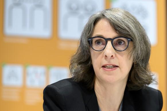 Anne Levy, Direktorin BAG, spricht waehrend einem Point de presse des BAG zur aktuellen COVID-19-Lage, am Freitag, 9. Oktober 2020 in Liebefeld. (KEYSTONE/Anthony Anex)